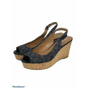 Coach Ferry Cork Wedge Peep Toe Sandals Black Logo